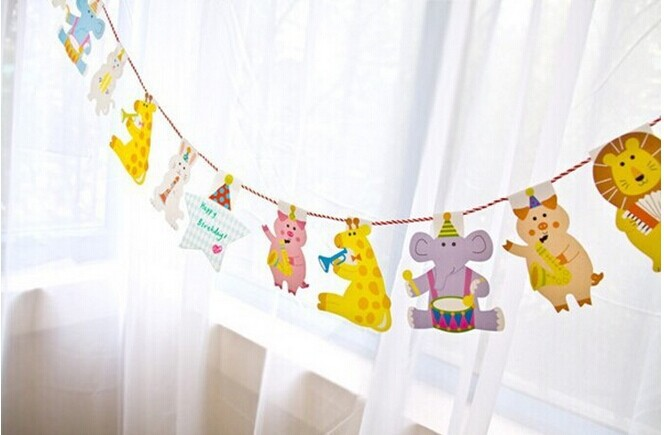 Animals Bunting String Flags Kids Birthday Party Decoration Baby Showers Themed Party Wall Background Garlands Hanging Supplies