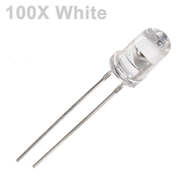 100Pcs White LED 5mm Diode Round Ultra Bright LED Light Emitting Diode Lamp Water Clear Through Hole Diode Bulb LED Light Bead