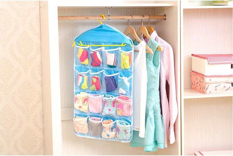 Hot sale 16 grids Foldable Wardrobe Hanging Bags Socks Briefs Organizer Clothing Hanger Closet Shoes Underpants Storage holder