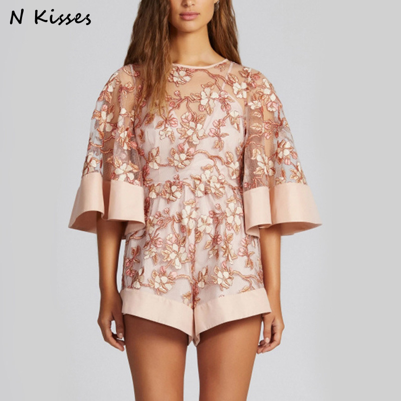 2017 Fashion Lace Pink Mesh Embroidered Romper Boho Womens Girls Loose Playsuits Flare Sleeve Sexy Overalls Combishort