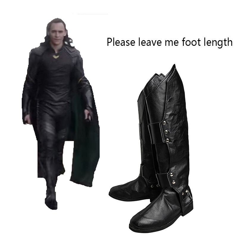 Thor Ragnarok Cosplay Shoes Superhero Loki Laufeyson Cosplay Boots Adult Men Movie Hero Cosplay Costume Props Accessories Black