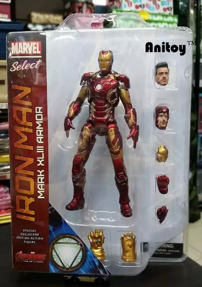 Marvel Seç Demir Adam MK43 Mark XLIII Zırh PVC Action Figure Koleksiyon Model Oyuncak 7 18 cm KT067